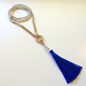 Luxe royal blue tassel necklace with white howlite & rose gold tone stainless steel beads