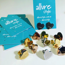 Load image into Gallery viewer, Handstamped heart earrings | allure style