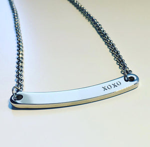 Handstamped curved bar style necklace | allure style