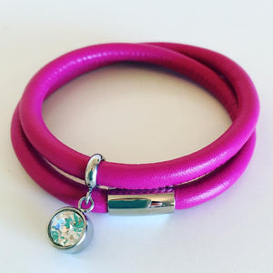 Leather wrap bracelet in pink with stainless steel magnetic clasp and charm