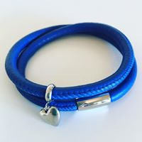 Leather wrap bracelet in cobalt/royal blue with stainless steel clasp and charm