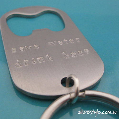 Handstamped bottle opener keyring | allure style