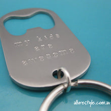 Load image into Gallery viewer, Handstamped bottle opener keyring | allure style