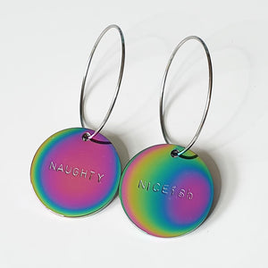Handstamped Large Shiny Rainbow earrings (online market sale)