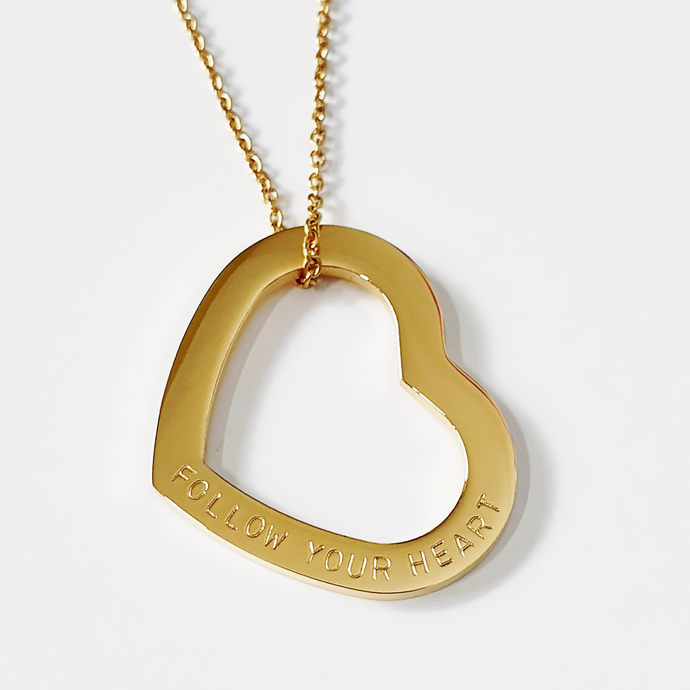 Handstamped Love Heart Necklace | allure style | Follow your Heart