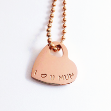 Load image into Gallery viewer, Handstamped Mini Heart Necklace (clearance sale)