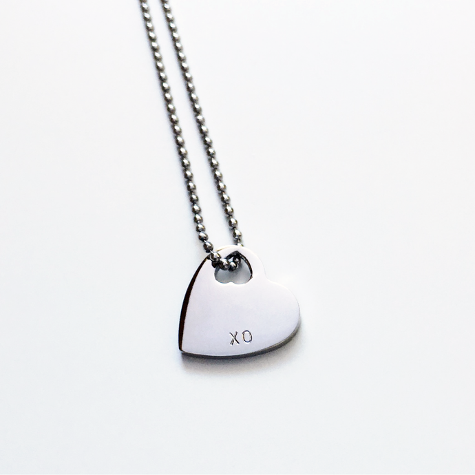 Handstamped Mini Heart Necklace (clearance sale)