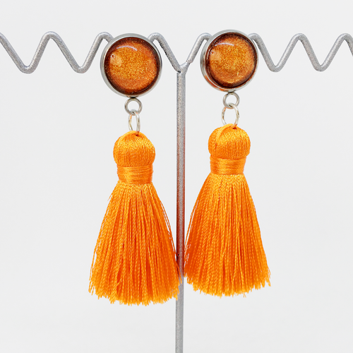 Mini Orange tassel earrings | allure style