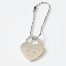 Load image into Gallery viewer, Handstamped Padlock Heart Bag Charm