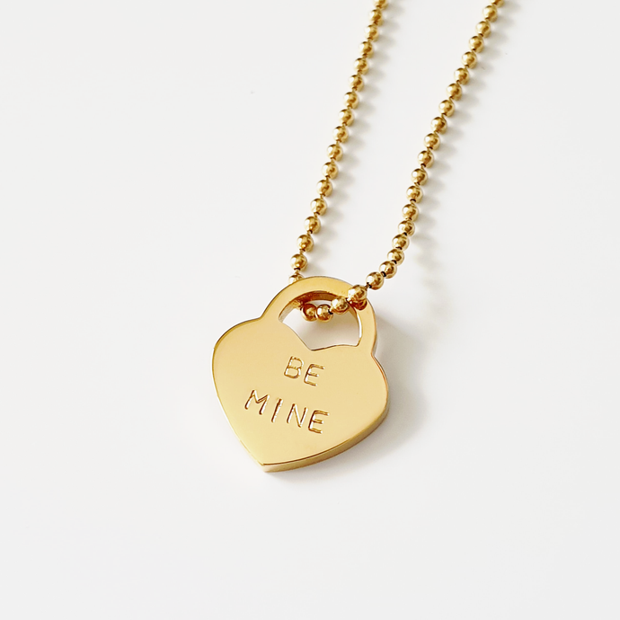 Handstamped Mini Padlock Heart Necklace