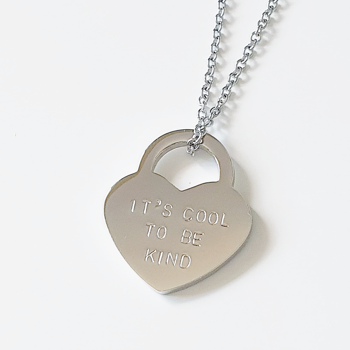 Handstamped Large Padlock Heart Necklace