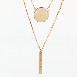 Handstamped Petite Disc & Tag Necklace Set | allure style