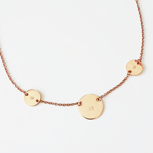 Load image into Gallery viewer, Handstamped Petite Disc Trio Necklace | allure style