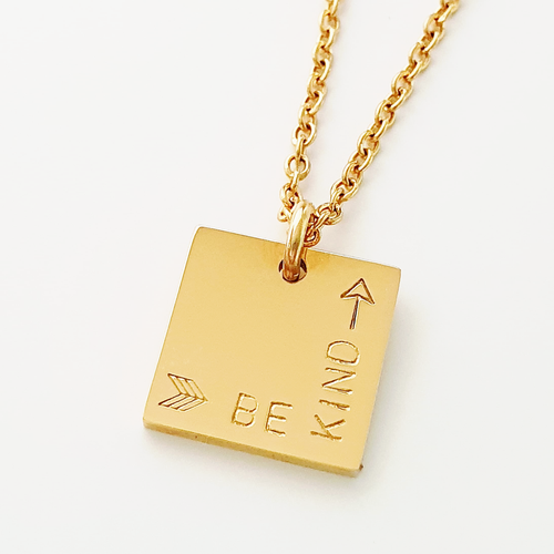 Be Kind | Handstamped Petite Square Necklace | allure style
