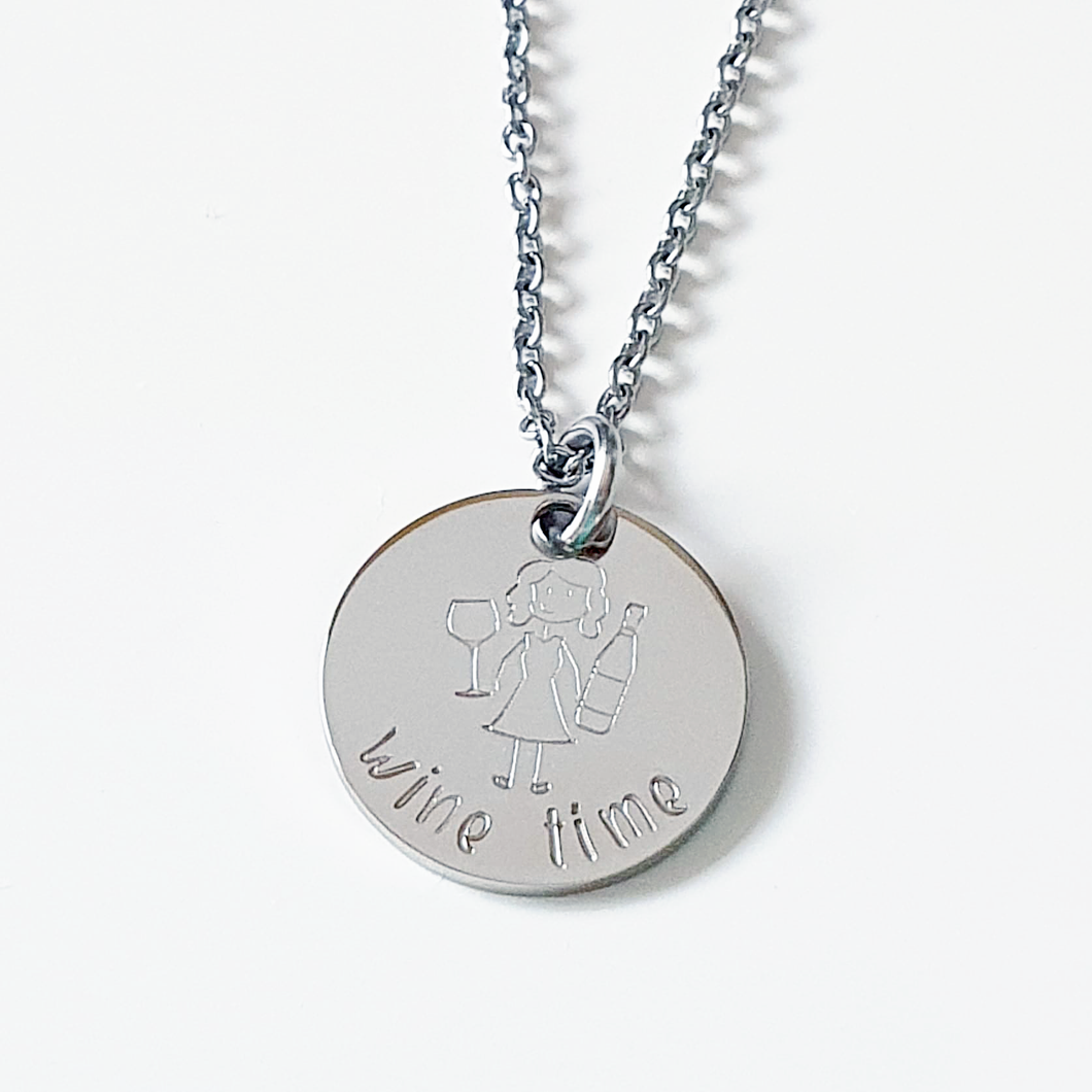 Handstamped Mini Circle Disc Necklace (clearance sale)