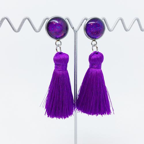 Mini Purple tassel earrings | allure style