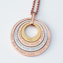 Load image into Gallery viewer, Handstamped Quad Stack Necklace