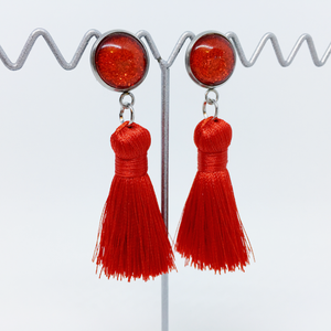 Mini Red tassel earrings | allure style