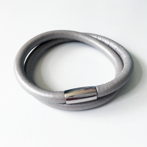 Pearlescent Silver double wrap leather bracelet