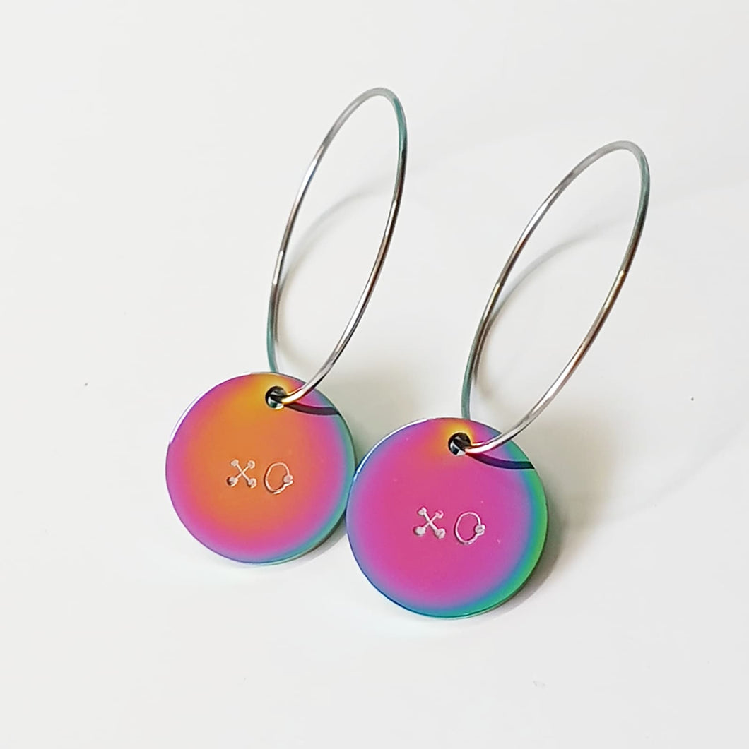 Handstamped Small Shiny Rainbow earrings (online market sale)