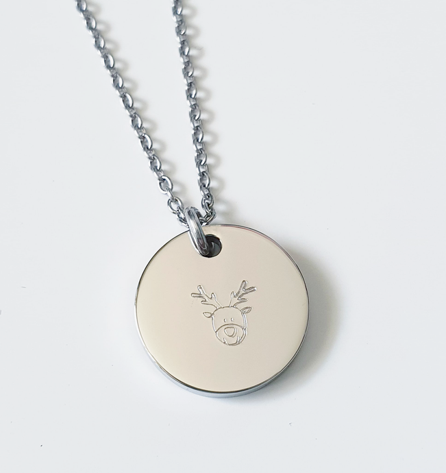 Handstamped Mini Circle Disc Necklace | Christmas reindeer | allure style