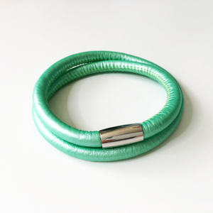 Spearmint double wrap leather bracelet