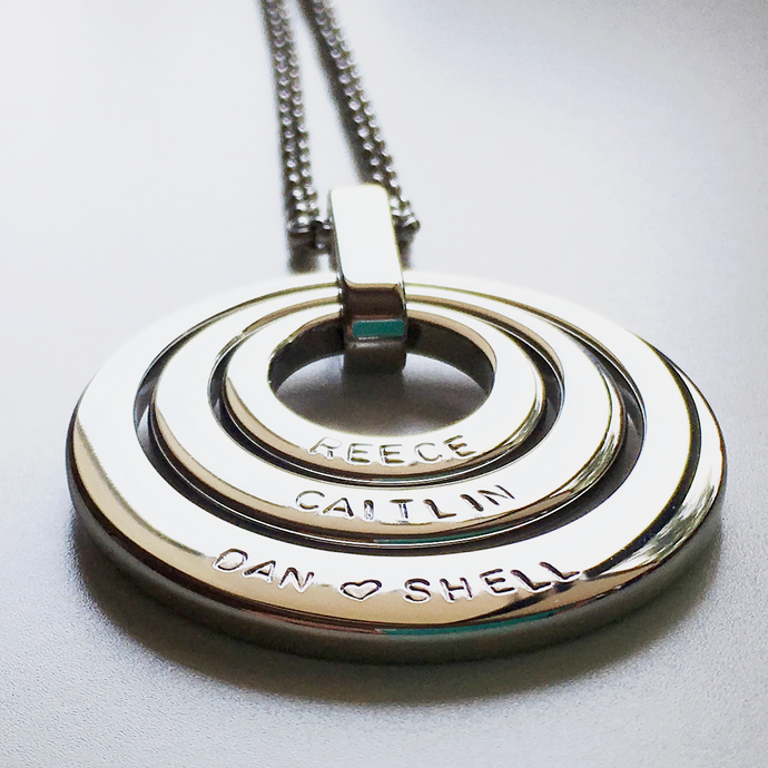 Handstamped Triple Stack Necklace