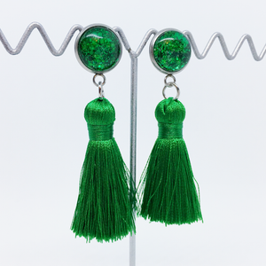 Mini Tropical Green tassel earrings | allure style