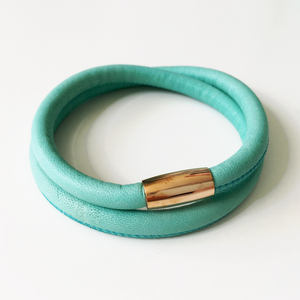 Turquoise double wrap leather bracelet