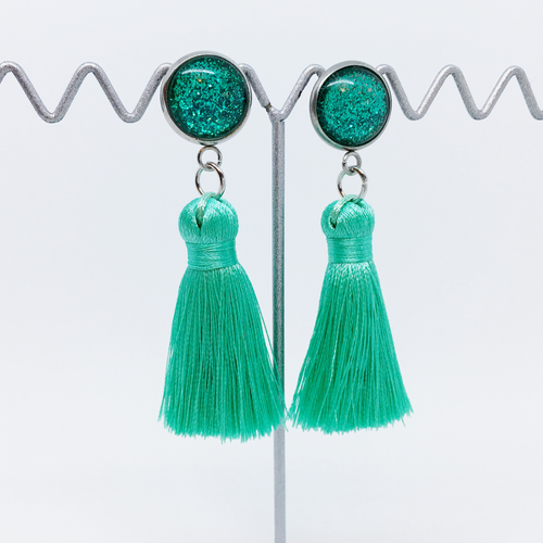 Mini Turquoise tassel earrings | allure style