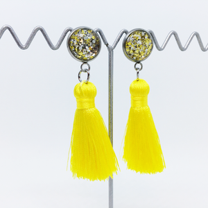 Mini Yellow tassel earrings | allure style