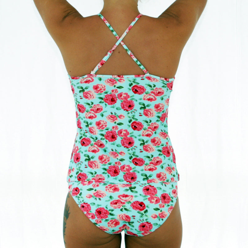 ALICE – High Neck Tankini / Tank Top – Vintage Blue Floral