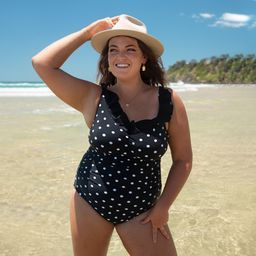 Hannah D/E Cup Ruched Swimsuit – Black & White Polkadot – Sizes 12 to 20