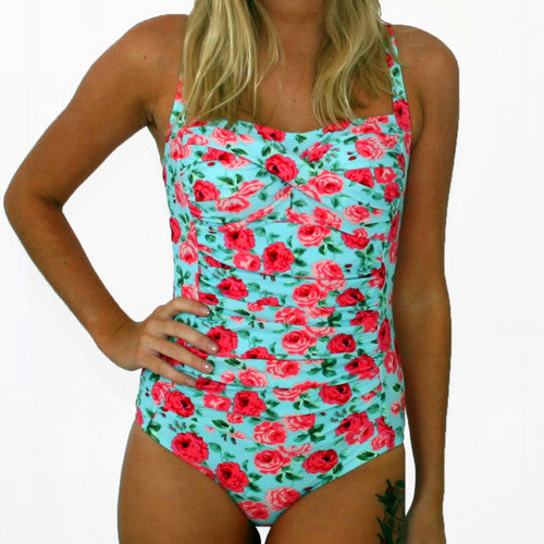 GEORGIA Ruched Twist Front Swimsuit - Vintage Blue Floral - Sizes 12 - 22