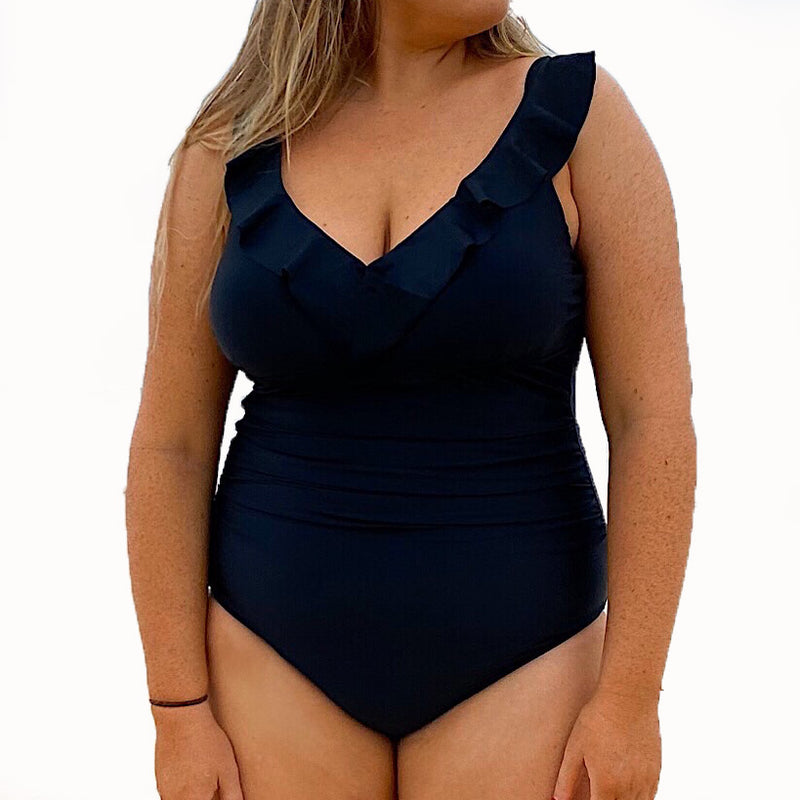 Hannah D/E Cup Ruched Swimsuit – Jet Black – Sizes 12 to 20