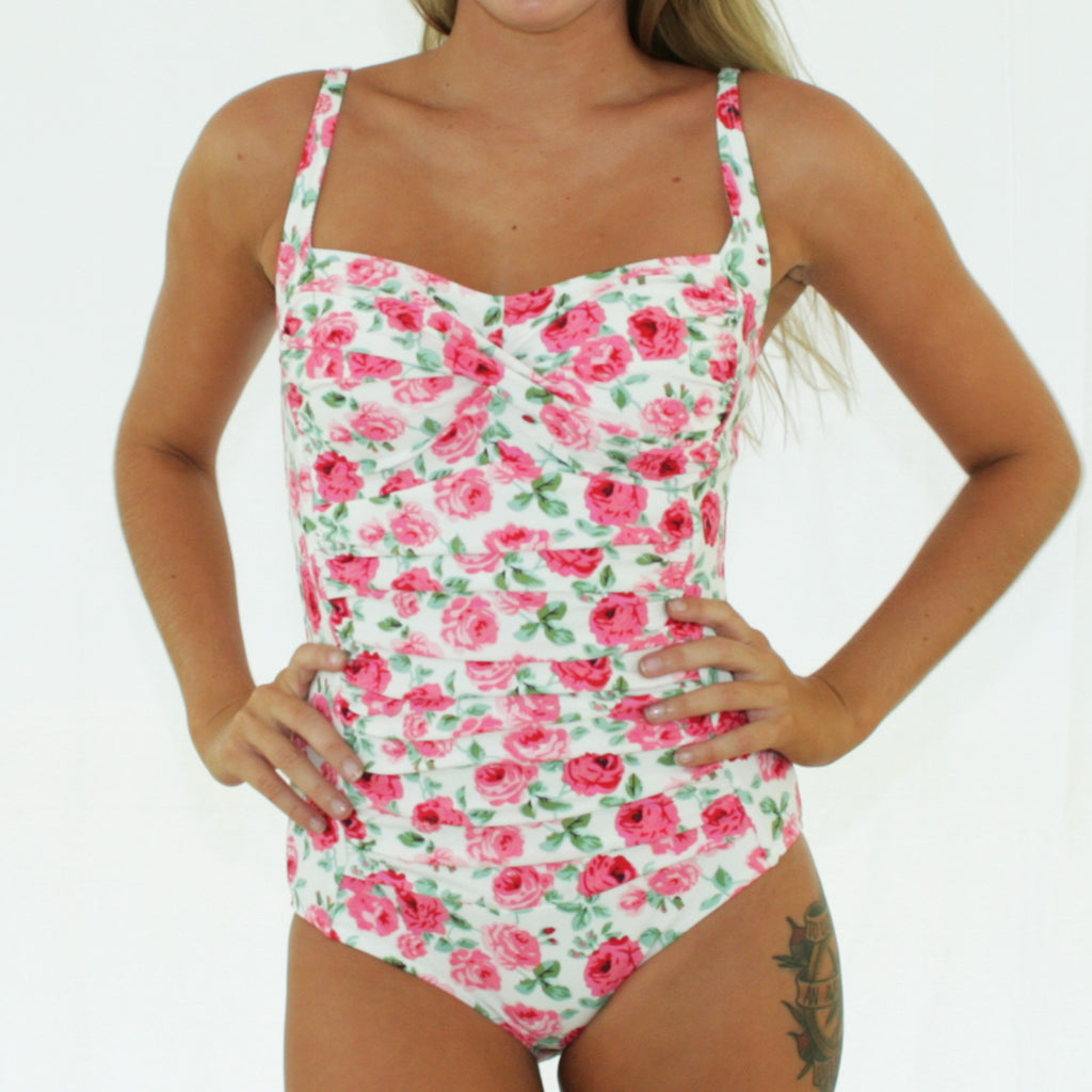 GEORGIA Ruched Twist Front Swimsuit - Vintage Cream Floral - Sizes 12 - 16
