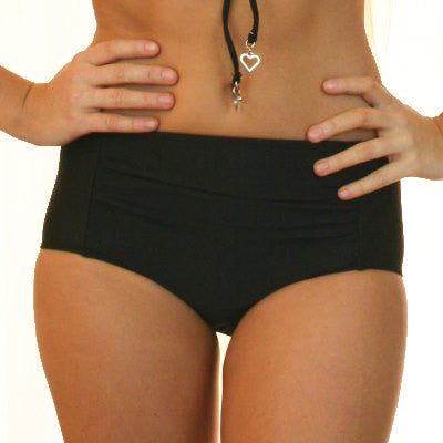 MARILYN - 1950's Ruched High Waisted Bikini Bottoms - Jet Black