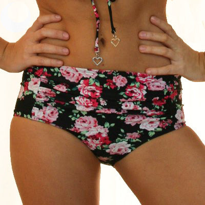 MARILYN - 1950's Retro High Waisted Bikini Pant - Vintage Black Floral