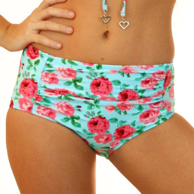 MARILYN - 1950's High Waisted Bikini Pant - Vintage Blue Floral