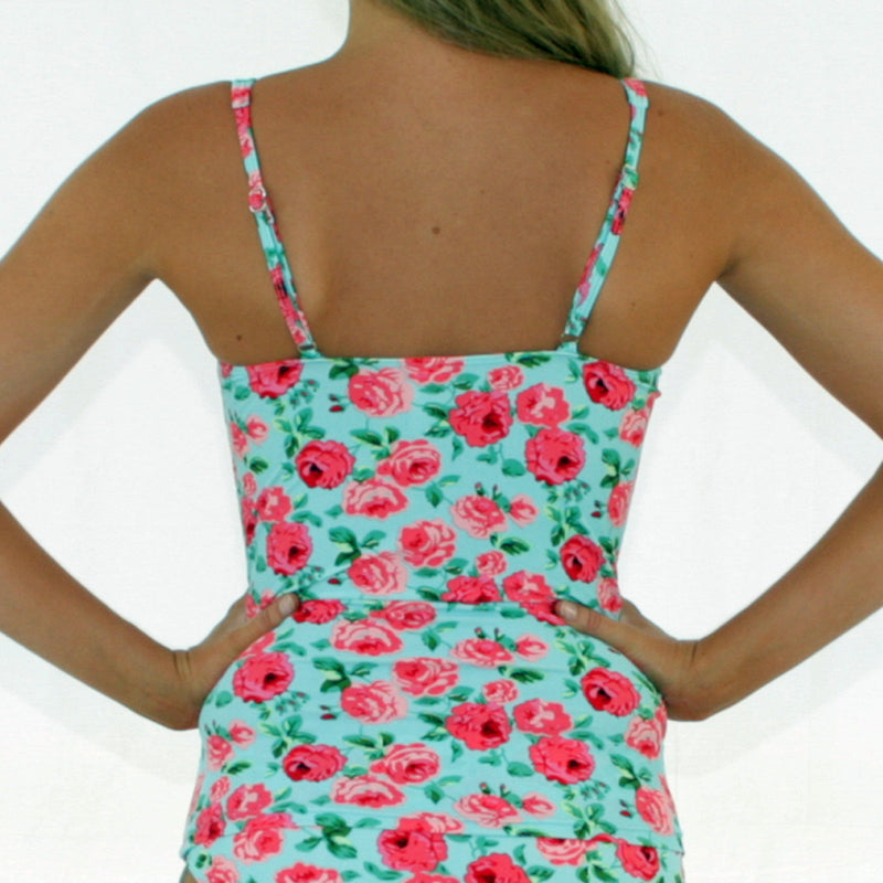 SOPHIA Twist Tankini Ruched Singlet Top - Vintage Blue Floral - Sizes 12 - 20