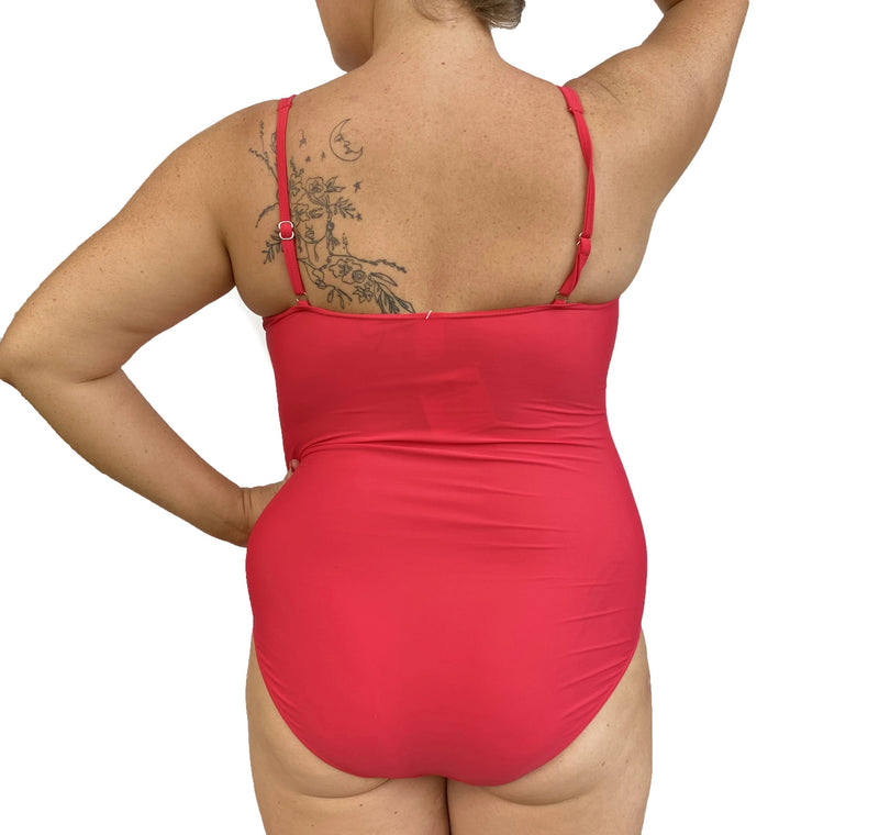 GEORGIA Ruched Twist Front Swimsuit - Cherry Red - Sizes 12-22