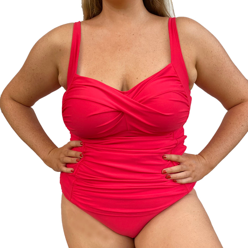 SOPHIA Twist Tankini Ruched Singlet Top  -  Cherry Red - Sizes 12-20