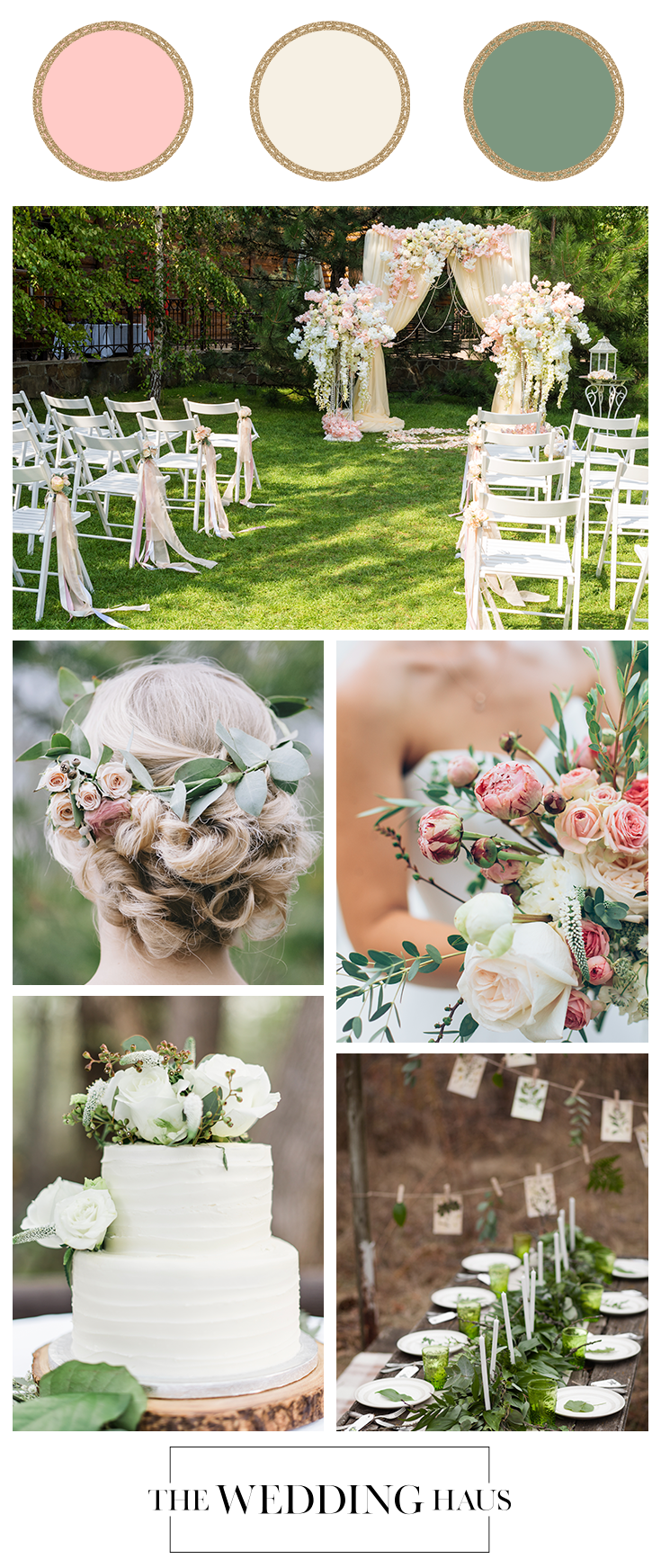 Blush Ivory Green Color Scheme for Wedding From The Wedding Haus