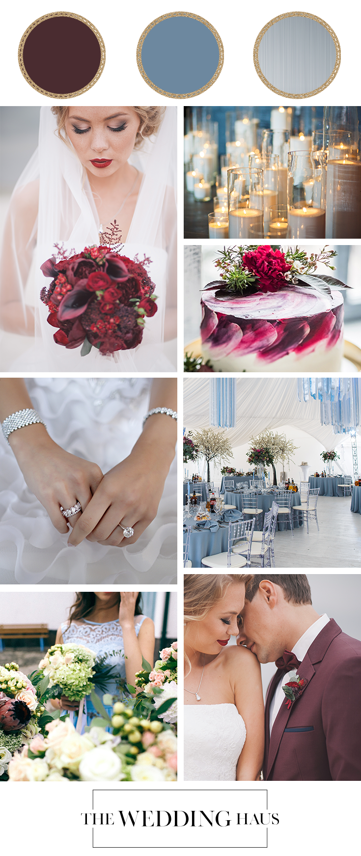 Dusty Blue and Burgundy Wedding Color Scheme from The Wedding Haus Premier Wedding Shop
