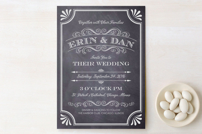 A Chalkboard Marriage Wedding Invitation from Minted.com via The Wedding Haus