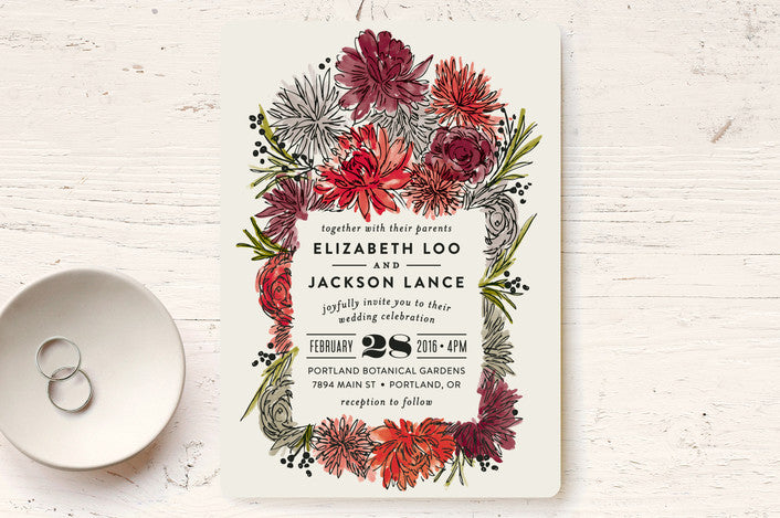 2018 Dahlias Wedding Invitation from Minted.com via The Wedding Haus