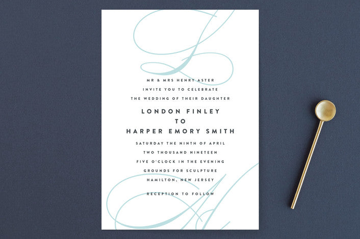 Twirl Monogram B Wedding Invitations from Minted.com via The Wedding Haus