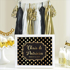 Black and Gold Custom Wedding Bar Area Sign from The Wedding Haus