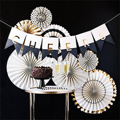 Black and Gold Rosette Fans for Wedding Bar Area from The Wedding Haus