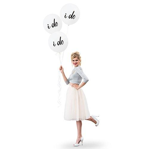 "17"" Large White Round Wedding Balloons - I Do-The Wedding Haus"